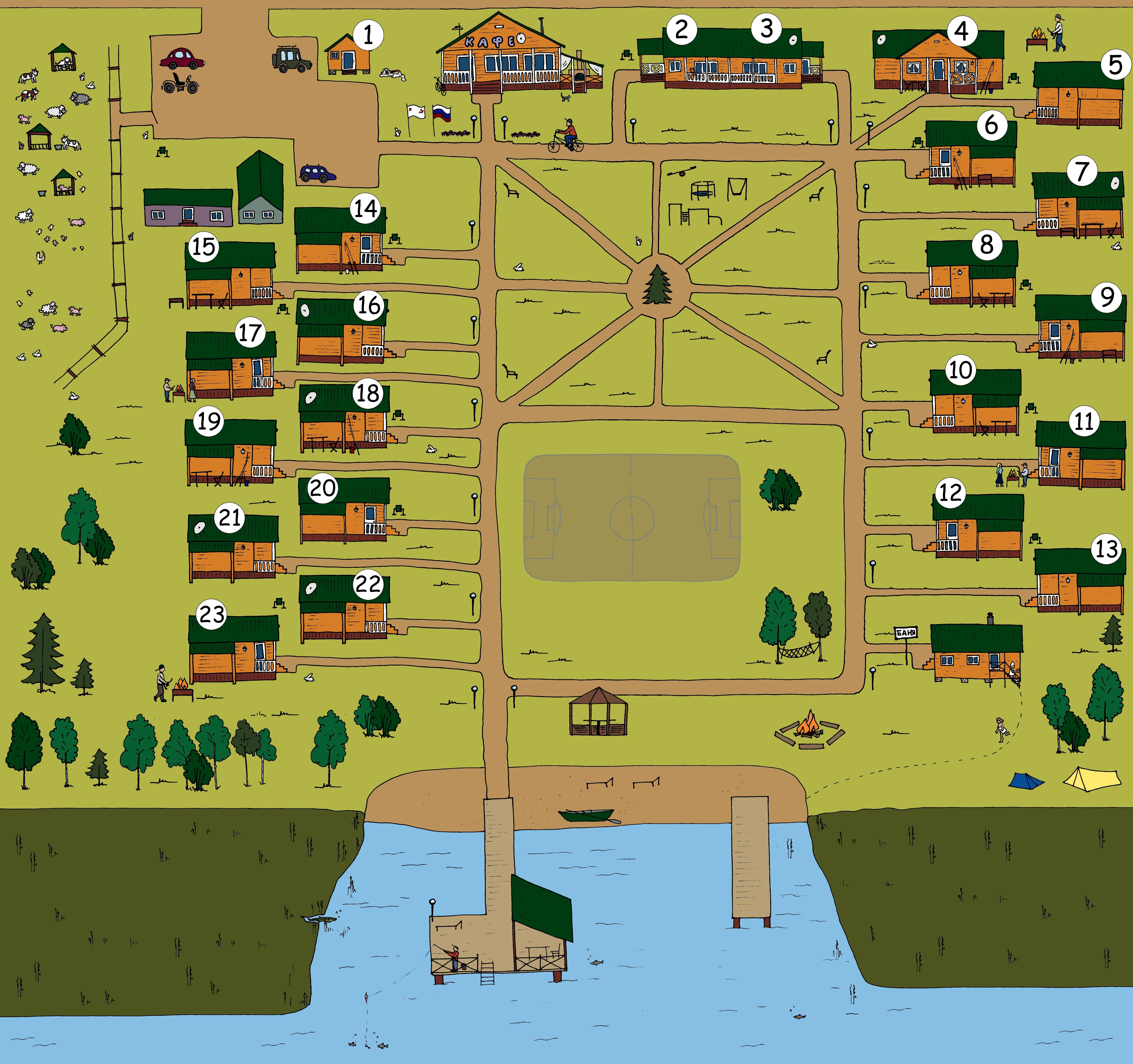 карта базы отдыха подворье в Ленинградской области